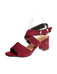 pit4tk Women Sandals Summer Shoes High Heels Open Toe Ankle Strap Shoes Woman Heel Plus Size Sandals