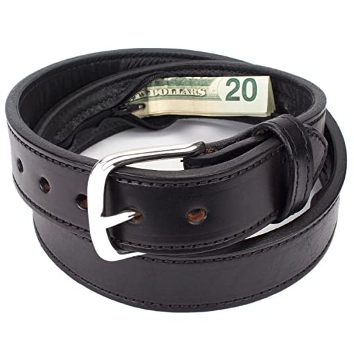 """English Bridle Leather DARK BROWN MONEY BELT with Concealed 16/"""" Zipper Pouch USA"""