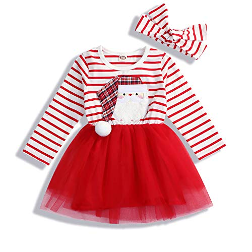 Baby Girl Christmas Outfit Toddler Kids Santa Print Dress Long Sleeve Striped T-Shirt Dress (1-2 Years, Red)]()