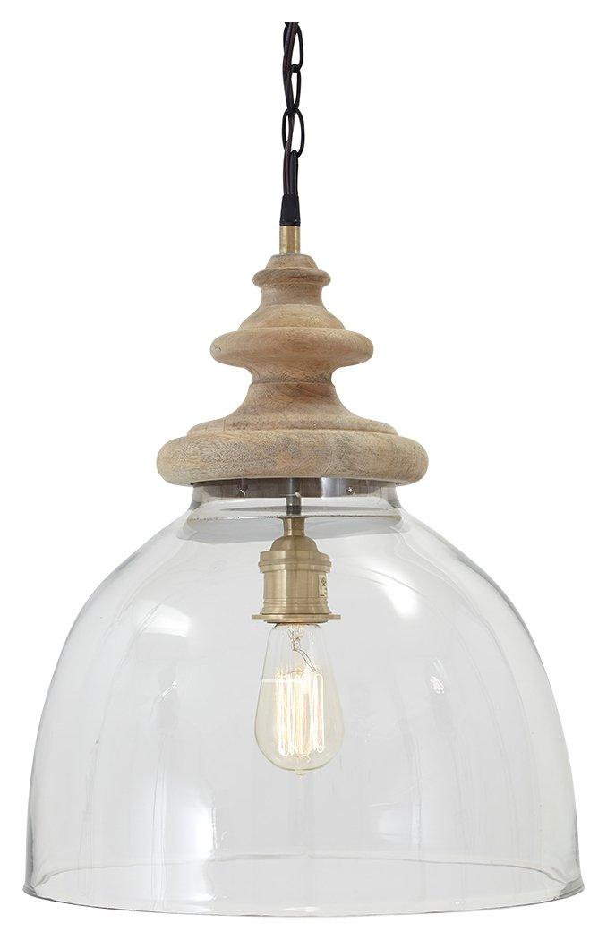 Ashley Furniture Signature Design - Farica Rustic Dome-Shaped Transparent Glass Pendant Light - Clear