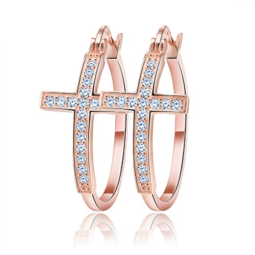 uPrimor Simple 30mm White CZ Diamond Cross Hoop Earrings, Hypoallergenic, Rose Gold Plated Loop Earrings for Women ()