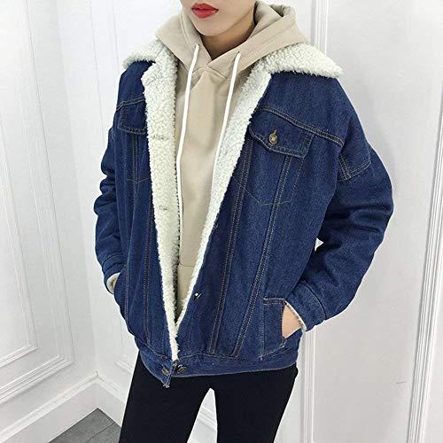 Qualit Simple Mode Bonne Outerwear Femme Avant Fourrure paissir Style De Jacken Boutonnage Mode Poches avec Jacket Jeune Dunkelblau Spcial Manteaux Manches Hiver Longues Jean lgant Revers xn8Sww1