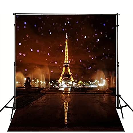 5x7ft Lights Up The Night Paris Eiffel Tower Photography Backdrop Background