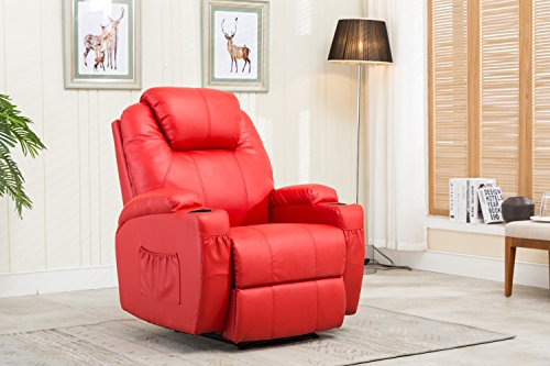 MCombo Recliner Media Armchair Loung Chair Combination w/Cup Holder 8032 (Red) from MCombo