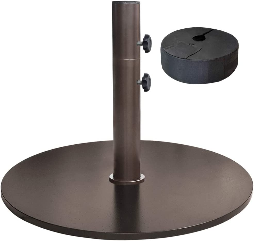 "EliteShade Up to 140 lbs Round Umbrella Base Steel Plate Stand Market Patio Outdoor Heavy Duty Umbrella Holder, Bonus 18"" Round Weight Sand Bag (Sand is not Included), Bronze"
