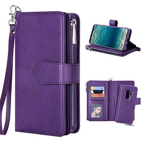 Galaxy S9 Plus Geldbörse Handytasche mit Kartenfach Magnetische Abnehmbarer Leder Hülle Tasche Handtasche Wallet Flip Case Cover Handyhülle Reißverschluss Kreditkarten Klapphülle Etui Schutzhülle Lila