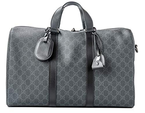 (Gucci Duffle Luggage GG Supreme Carry On Bag Black Signature GG Leather New)