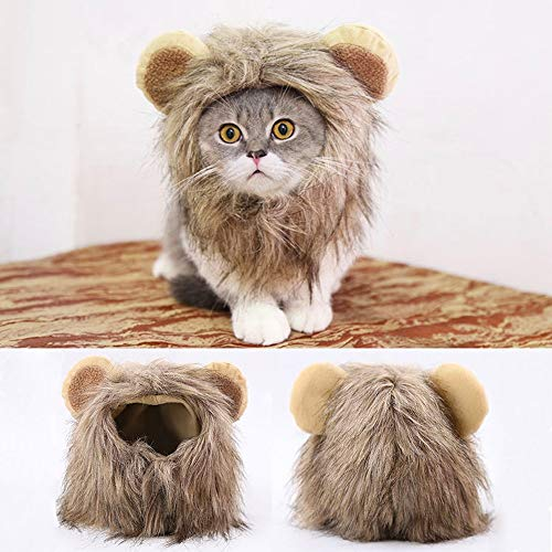dinglizhanshun Lion Pattern Pet Hat for Dogs Cats Emulation Lion Hair Mane Ears Head Cap Scarf Pet Halloween Pet Festival Costume Cap ()