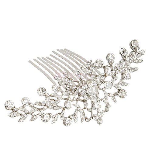 Bridal Wedding Flower Diamante Crystal Rhinestone Women Hair Comb Headpiece ,first communion hair accessories