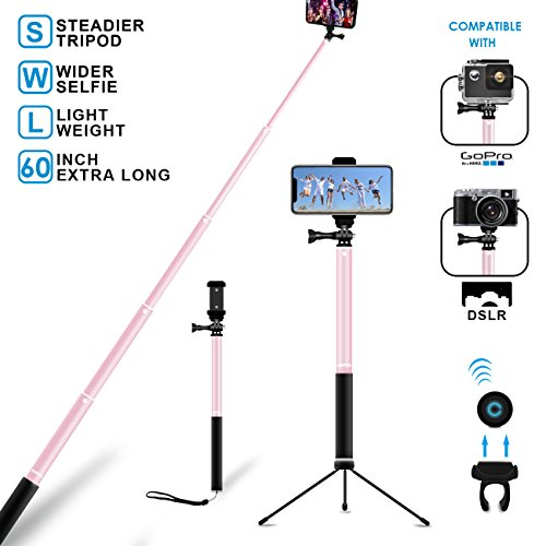 Bluetooth Selfie Stick Tripod Selfie Stand with Remote 60Inch MFW Extendable Monopod with Tripod Stand for iPhone X/8/7/6/Plus,Samsung S7/S8/S9/ Plus/Note 8/More Android-Rose Gold