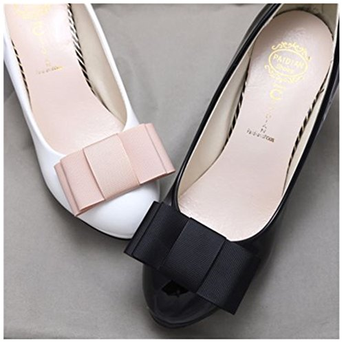 Douqu A Pair Simple Elegant and Retro Style Assorted Color Plain Ribbon Bow Butterfly High Heel Shoe Clips (Black) (Shoes Clip)