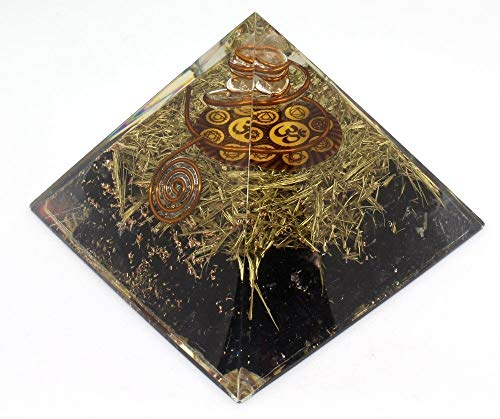 Orgone Pyramid Energy Generator - Chakra Om Symbol Orgonite Black Tourmaline Crystal Pyramid with Brass Metal for EMF Protection - Chakra Balancing-Healing-Meditation-Yoga by Orgonite Crystal