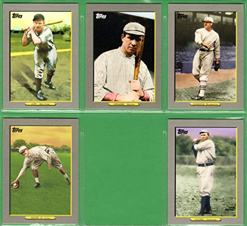 2020 Topps Turkey Red Football - 2009 Topps Turkey Red (5) Card Lot featuring Mel Ott, Tris Speaker, Walter Johnson, George Sisler, Cy Young.