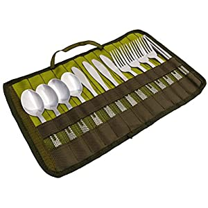13 Piece Stainless Steel Family Cutlery Picnic Utensil Set with Travel Case for Camping | Hiking | BBQs Includes Forks | Spoons | Knifes | Chopstick, Plus Nylon Commuter Case