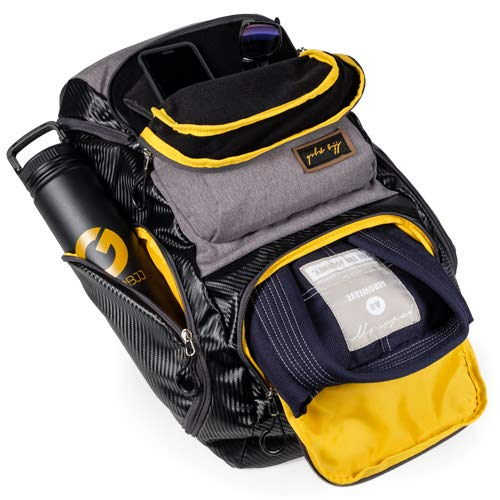 Gold BJJ Jiu Jitsu Backpack - Heavy Duty Gym Bag with Waterproof Gi Pocket (Grey)