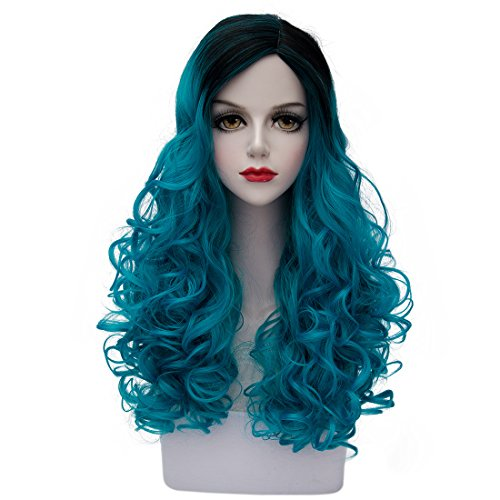 Good 2 People Costumes (TopWigy Women's Long Wavy Curly Wig Fashionable Synthetic Ombre 2 Tone Cosplay Costume Full Wig (Black to Lake Blue)24
