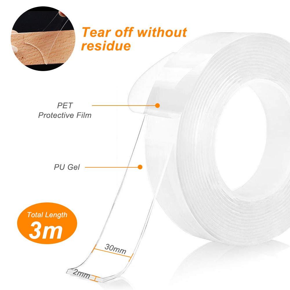 3M Nastro Biadesivo Riutilizzabile Nastro Biadesivo Trasparente Nano Magic Tape rimovibile lavabile Tracciante per Articoli Da Incollare Trounistro Nano Nastro Biadesivo Fissare Tappeti