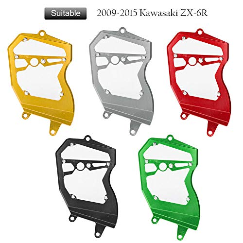 FATExpress Motorcycle Billet CNC Aluminum Front Chain Guard Sprocket Engine Cover for 2009-2015 Kawasaki Ninja ZX6R ZX-6R ZX 6R 636 2010 2011 2012 2013 2014 09-15 - Front Billet Sprocket Cover