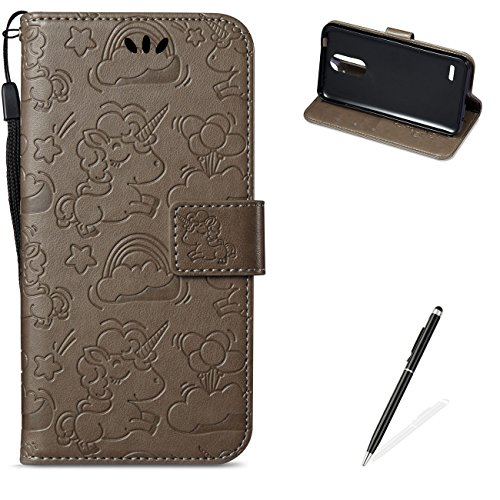 MAGQI for LG K4 2017 EU Version PU Leather Wallet Case with [Free 2 in 1 Stylus],Elegant Premium Flip Book Style Stand Function Shell and Unicorn Pattern Design Cover-Brown ()