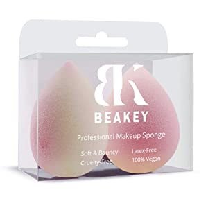 BEAKEY Color Changing Makeup Sponges, Latex-free Makeup Blender Beauty Foundation Blending Sponge, Flawless for Liquid, Cream and Powder Application (Pink Turns Yellow, 2 Pcs)