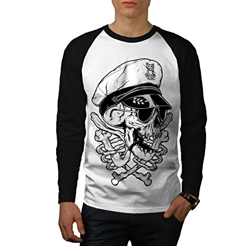 - wellcoda Pirate SWAG Head Skull Men S Baseball LS T-Shirt