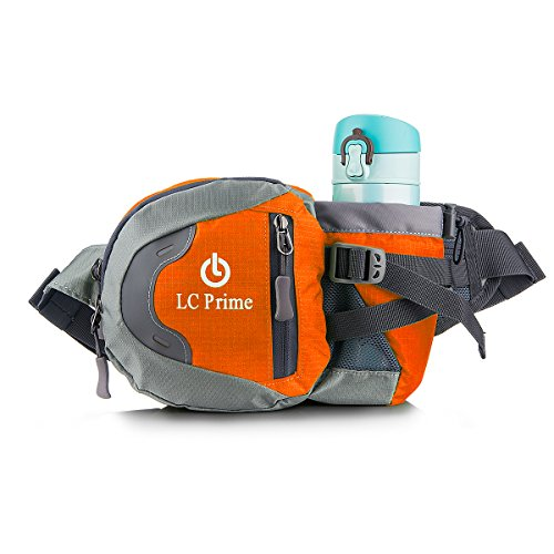 Waist Pack Fanny Pack Bum Bag Hip Pack Running Bag Waist Bag Running Belt Sack Water Resistant with Bottle (Not Included) Holder for Hiking Camping Dog Walking nylon fabric orange - by LC Prime® Canvas Zipped Compact Wallet