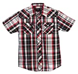 Gioberti Boys Casual Western Plaid Pearl Snap Short Sleeve Shirt, Black/Red/White : Size 4