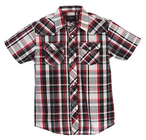 Western Plaid Pearl Snap Short Sleeve Shirt, Black/Red/White : Size 8 (Short Sleeve Pearl Snap)
