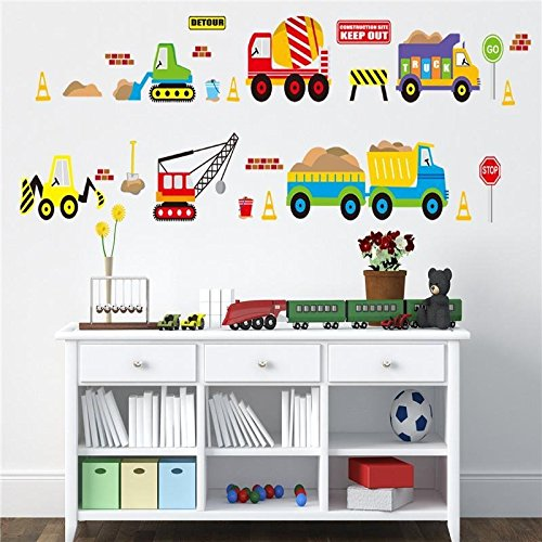 - Let'S Diy(TM)Cartoon Transportation Car Vinyl Wall Stickers For Kids Rooms Home Decor Wall Decals Home Decoration Wallpaper