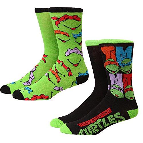 Teenage Mutant Ninja Turtles Faces & Logo 2-pack Adult Crew Socks from Hypnotic Hats