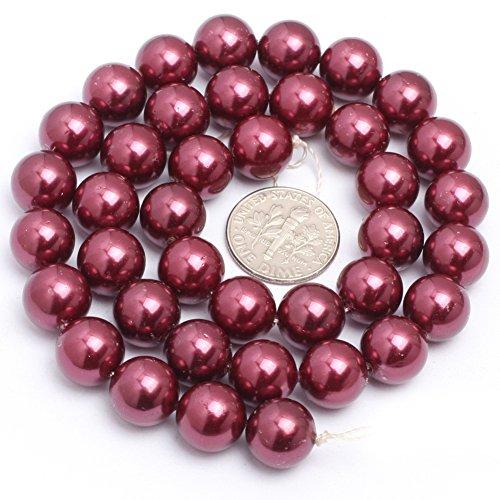 Shell Beads for Jewelry Making Gemstone Semi Precious 10mm Round Wine Red 15