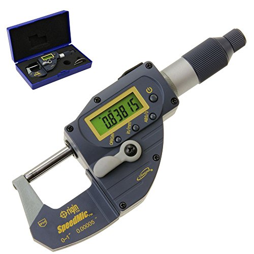 iGaging 35-070-025 Digital Quick Micrometer, Absolute Origin SpeedMic Snap Indicating Lever Action Gage IP65 Coolant Proof, 0-1