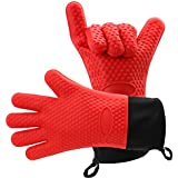 Silicone Cooking Gloves,Insulated waterproof/oil Heat Resistant Oven Gloves for BBQ,Grill,Baking,Best Kitchen Safety (Red)