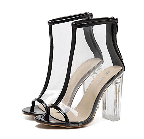 Shoes Peep Crystal Shoes Wind Heeled Transparent Black High Women Thick Boots New Summer Sandals Toe GLTER Pumps Court Cool OqFwTgxA