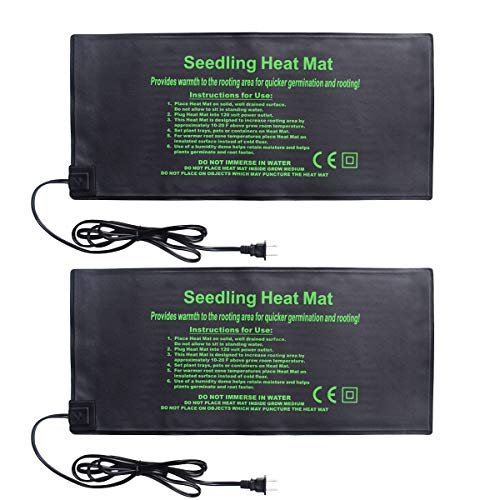 BoHoFarm Seedling Heat Mat 2-Pack Heating Mat Hydroponic Heating Pad Waterproof for Seed Germination Cloning and Plant Propagation ()