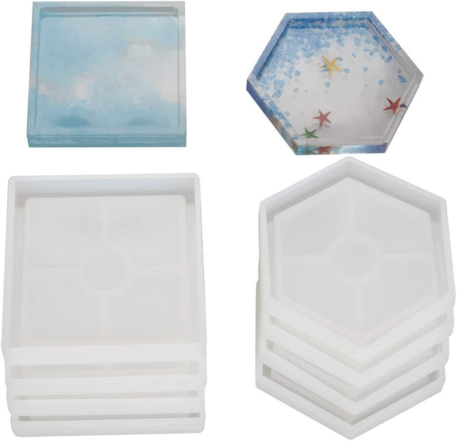 Concrete Molds for Casting with Resin Include 4 Pcs Square Cement 8 Pcs DIY Coaster Silicone Mold 4 Pcs Hexagon