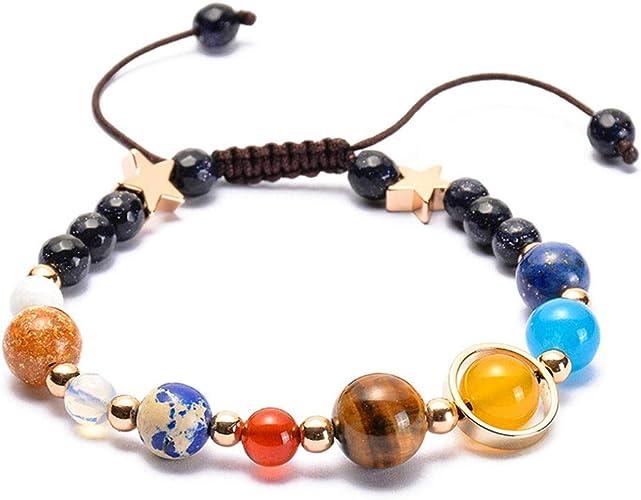 Weave Bracelet Galaxy Sonnensystem Acht Planeten Thema Natursteinperlen