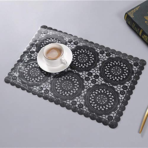 Oiuytghjkl - Alfombrilla para mesa de comedor, Six Circles Negro, Paquete de 6