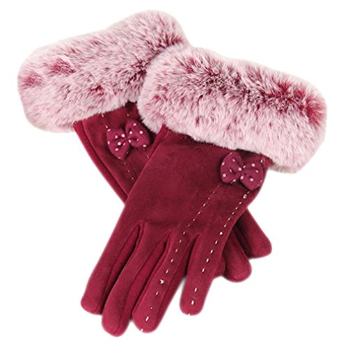 Gloves for Women,Sunfei 1Pair Winter Warm Screen Riding Drove Gloves for Women (Red)