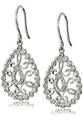 Sterling Silver Diamond Reflective Setting Drop Earrings (1/3cttw, I-J Color, I2-I3 Clarity)