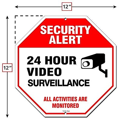 Famtec Video Surveillance Sign - 40 mil Rust Free Aluminium - Glow-in-The-Dark-Signs, Home Business, 24 Hours Security, All Activities are Monitored -CCTV Security Alert-Large (Red) from Famasys