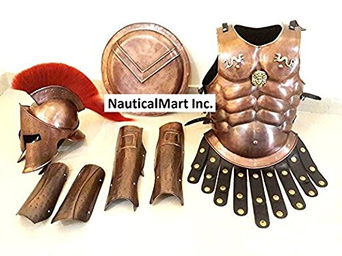 NAUTICALMART Medieval Copper 300 Spartan Set Muscle Armor Helmet W/Red Plume Leg Arm Guards -
