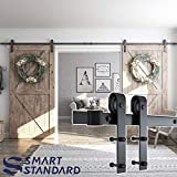 SMARTSTANDARD 13FT Double Gate Heavy Duty Sliding Barn Door Hardware Kit, Two-Piece Track Rail, Black, Super Smoothly & Quietly, Simple & Easy to Install, Fit 36