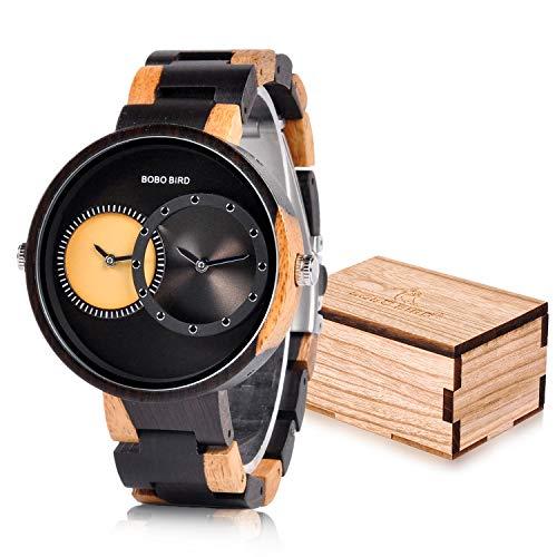 BOBO BIRD R10 Men's 2 Time Zone Wooden Watches Lightweight Luxury Quartz Wristwatches Fashion Design Timepiece for Men ()