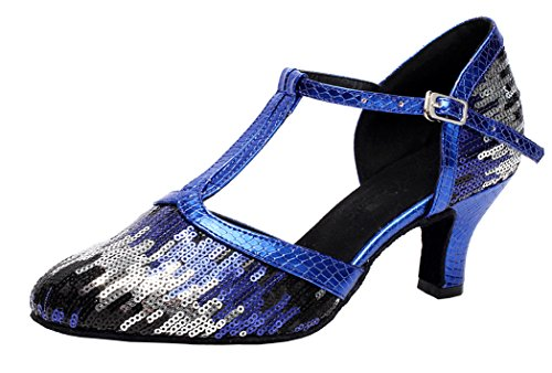 Heel Round Latin Womens Dance toe JJ Ballroom Tango Bar Party Blue shoes wedding CFP Block 7006A T q7Uw46z