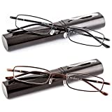 DOUBLETAKE 2 Pairs of Classic Readers in Slim Pen Clip Portable Hard Case Reading Glasses - Choose Your Magnification