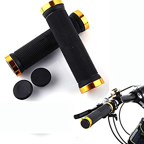 BMX Mountain Glumes 1 Pairs Bike Handlebar Grips Non-Slip-Rubber Bicycle Grips Handle Bar Double Lock On Holding Grips Downhill for MTB Folding Bike
