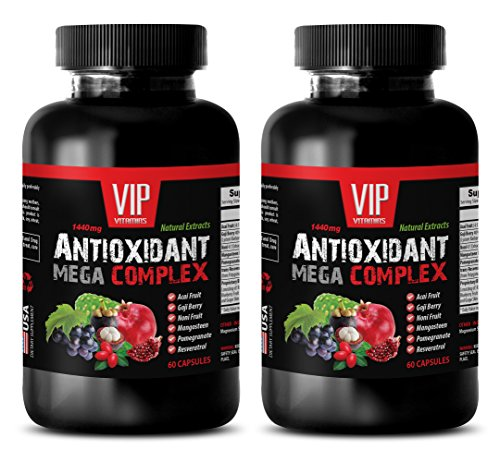 Antioxidant pills - ANTIOXIDANT MEGA COMPLEX - Pomegranate extract supplement - 2 Bottles 120 Capsules by VIP VITAMINS