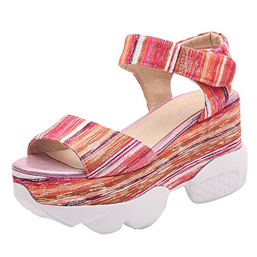 Charm Foot Womens Fashion Floral Open Toe Platform Wedge High Heel Sandals Orange&red Ta62wPZLx3
