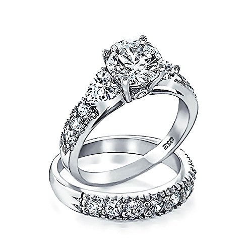 Bling Jewelry 925 Silver CZ Heart Side Stones Wedding Engagement Ring Set, Ring size 8 (Accented Ring Silver 925 Side)